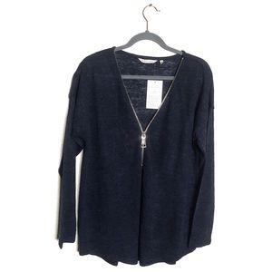 Soft Surroundings Blue Knit Zip Front Sweater